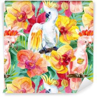 watercolor Australian Cockatoo seamless pattern Vinyl Wallpaper