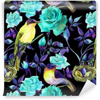 Watercolor birds on the blue roses Vinyl Wallpaper