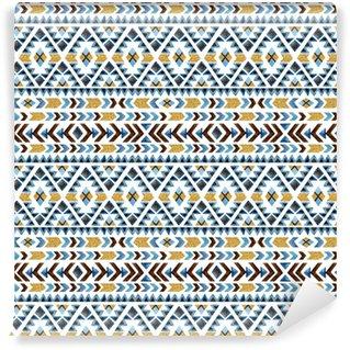 Watercolor ethnic seamless pattern. Geometric ornament. Vinyl custom-made wallpaper