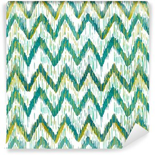 Watercolor ikat chevron seamless pattern. Green and blue watercolour . Bohemian ethnic collection. Vinyl custom-made wallpaper