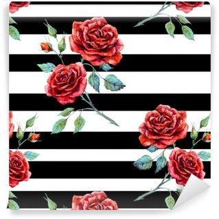 Watercolor rose pattern Vinyl Custom-made Wallpaper