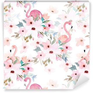 Watercolor seamless pattern. Floral print with flamingo Vinyl custom-made wallpaper