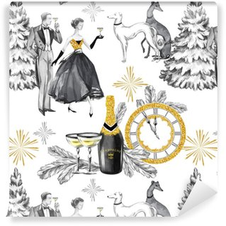 watercolor seamless pattern in retro gold style beautiful couple bottle of champagne glasses