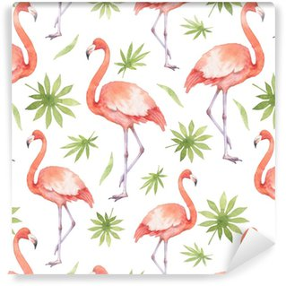 Watercolor seamless pattern of flamingo and palm trees isolated on white background. Vinyl custom-made wallpaper