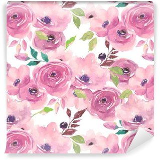 Watercolor seamless pattern. Painted flowers design Vinyl Custom-made Wallpaper