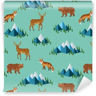 wild animals and mountains Vinyl Custom-made Wallpaper