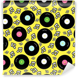 80s nostalgia style, Vintage retro 80's vector fashion seamless background. Pattern with vinyl record. Washable Custom-made Wallpaper