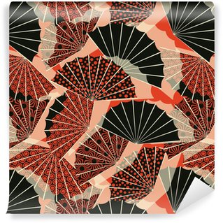 a japanese style fan shape seamless pattern, with 3 different decorations in a orange and black palette Washable custom-made wallpaper