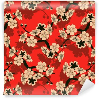 a Japanese style seamless tile with a cherry tree branch and flowers pattern in black, red and ivory Washable Custom-made Wallpaper