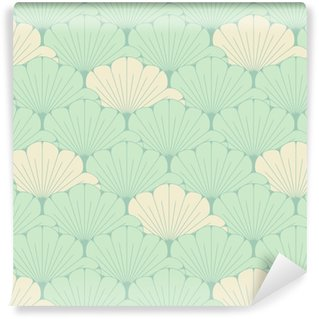 a Japanese style seamless tile with exotic foliage pattern in soft blue Washable custom-made wallpaper