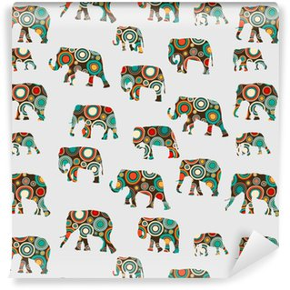 Abstract colorful pattern with elephants Washable Custom-made Wallpaper