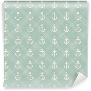 abstract geometric retro seamless polka dot background with anchors Washable custom-made wallpaper