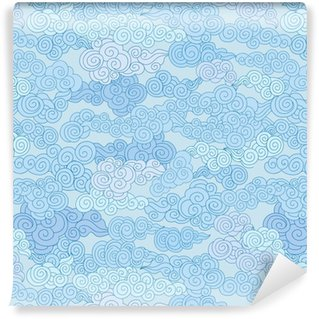 Abstract swirl cloud shapes geometgric tiled pattern in chinese style Sky ornamental background Washable Custom-made Wallpaper