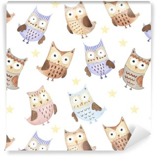 Adorable watercolor owls seamless pattern Washable custom-made wallpaper