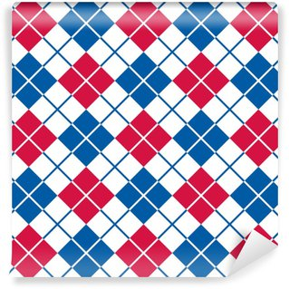 Argyle Pattern in Red, White and Blue Washable custom-made wallpaper