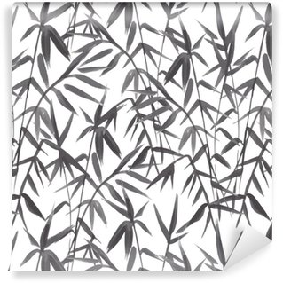 Bamboo seamless pattern on green background in japanese style, light fresh leaves, black and white realistic design, vector illustration Washable Wallpaper