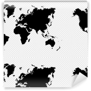 Black silhouette isolated World map EPS10 vector file. Washable Custom-made Wallpaper