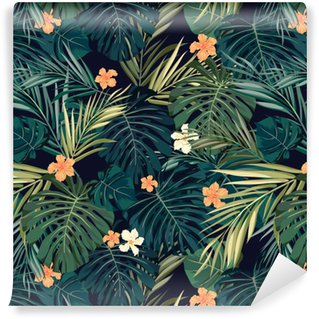 Bright colorful tropical seamless background with leaves and Washable Custom-made Wallpaper