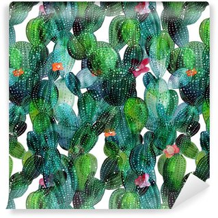 Cactus pattern in watercolor style Washable Wallpaper