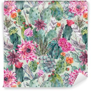 Cactus watercolor seamless pattern in boho style. Washable custom-made wallpaper