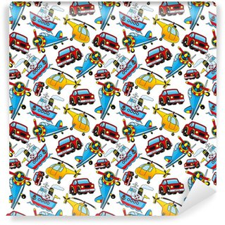 Cars, airplanes, ships and helicopters. Washable custom-made wallpaper