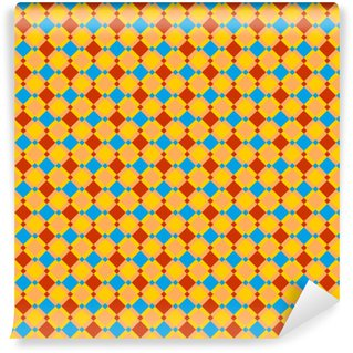 Checked red, blue, gold and ocher seamless pattern, background, wallpaper, print or swatch Washable Custom-made Wallpaper