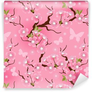 Cherry blossom seamless flowers pattern. Washable custom-made wallpaper
