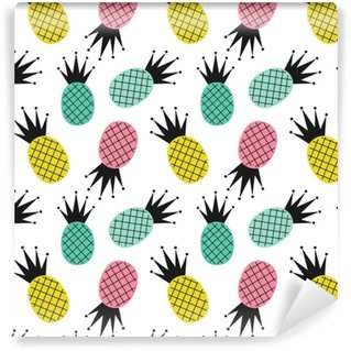 colorful cute pineapples seamless vector pattern background illustration Washable Wallpaper