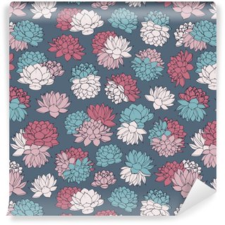 Colorful hand drawn vector lilies seamless pattern in pink, red and blue pastel colors on navy background. Vintage floral design. Washable custom-made wallpaper