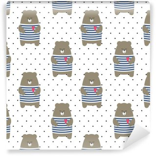 Cute bear seamless pattern on polka dots background. Cartoon parisian teddy bear vector illustration. Child drawing style animal background. Design for fabric, textile etc. Washable custom-made wallpaper