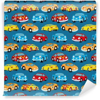 Cute colorful cars. Washable Custom-made Wallpaper