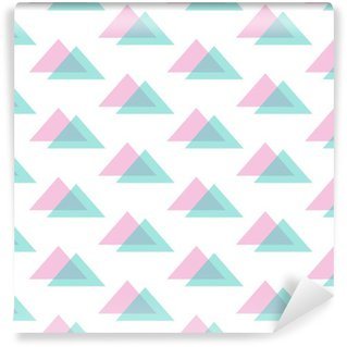 Cute modern pink and mint green triangle seamless pattern background. Washable Custom-made Wallpaper