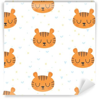 Cute seamless pattern for children with funny tiger. Smile characters Washable Custom-made Wallpaper