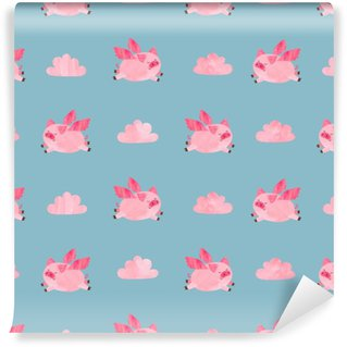 Cute watercolor flying pigs seamless pattern. Valentines day vector background. Washable Custom-made Wallpaper