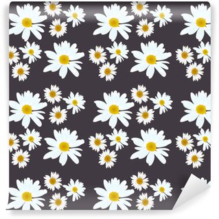 Daisy vector pattern. Beautiful flowers on black background. Washable Custom-made Wallpaper