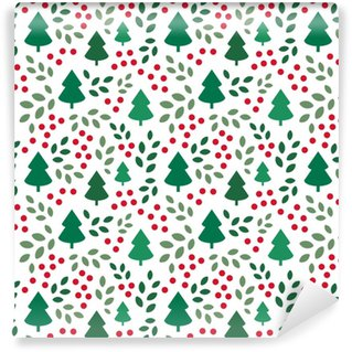 Endless Christmas Pattern with Christmas Trees Washable Custom-made Wallpaper