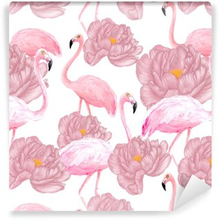 Flamingos seamless pattern Washable custom-made wallpaper