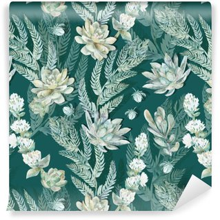 Floral seamless pattern. Succulents, ferns, thorns. Washable Custom-made Wallpaper
