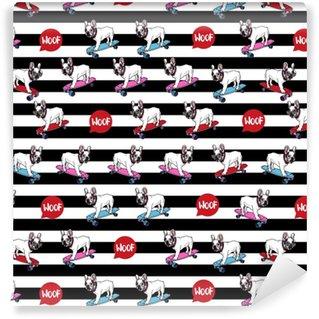 French Bulldog on skateboard seamless pattern. Washable custom-made wallpaper