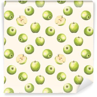 Hand-drawn watercolor seamless pattern with green apples on the white background. Repeated background. Washable Custom-made Wallpaper