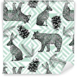 hand drawn winter trendy pattern, geometric background Washable custom-made wallpaper