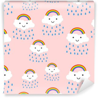Happy rainbow emotion with clouds seamless pattern background icon. Business flat vector illustration. Rainbow sign symbol pattern. Washable Custom-made Wallpaper