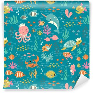 Happy underwater life pattern Washable Custom-made Wallpaper