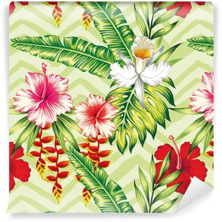 Hibiscus palm leaves orchid pattern Washable custom-made wallpaper