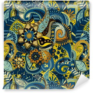 Indian colorful seamless pattern Washable custom-made wallpaper
