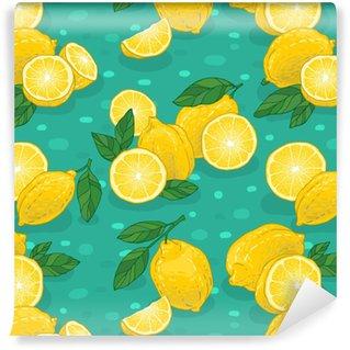 Juicy lemons pattern Washable Custom-made Wallpaper