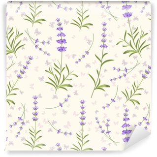 Lavender seamless vector pattern for fabric, paper Washable Custom-made Wallpaper
