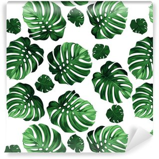 leaves monstera background Washable Custom-made Wallpaper