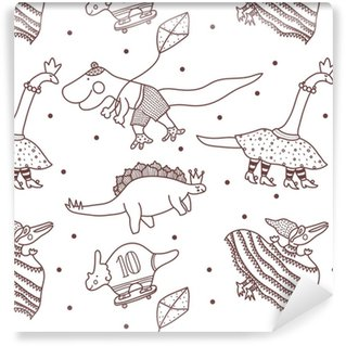 Line seamless pattern with happy dinosaurs. Washable Custom-made Wallpaper
