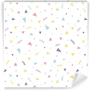 Memphis seamless pattern design with triangle confetti Washable Custom-made Wallpaper